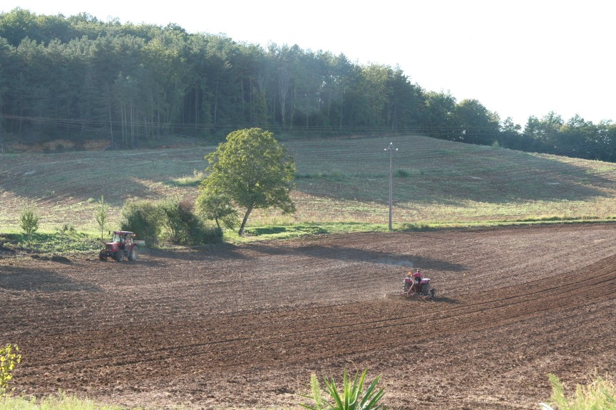 ploughing the field at our Dordogne gites