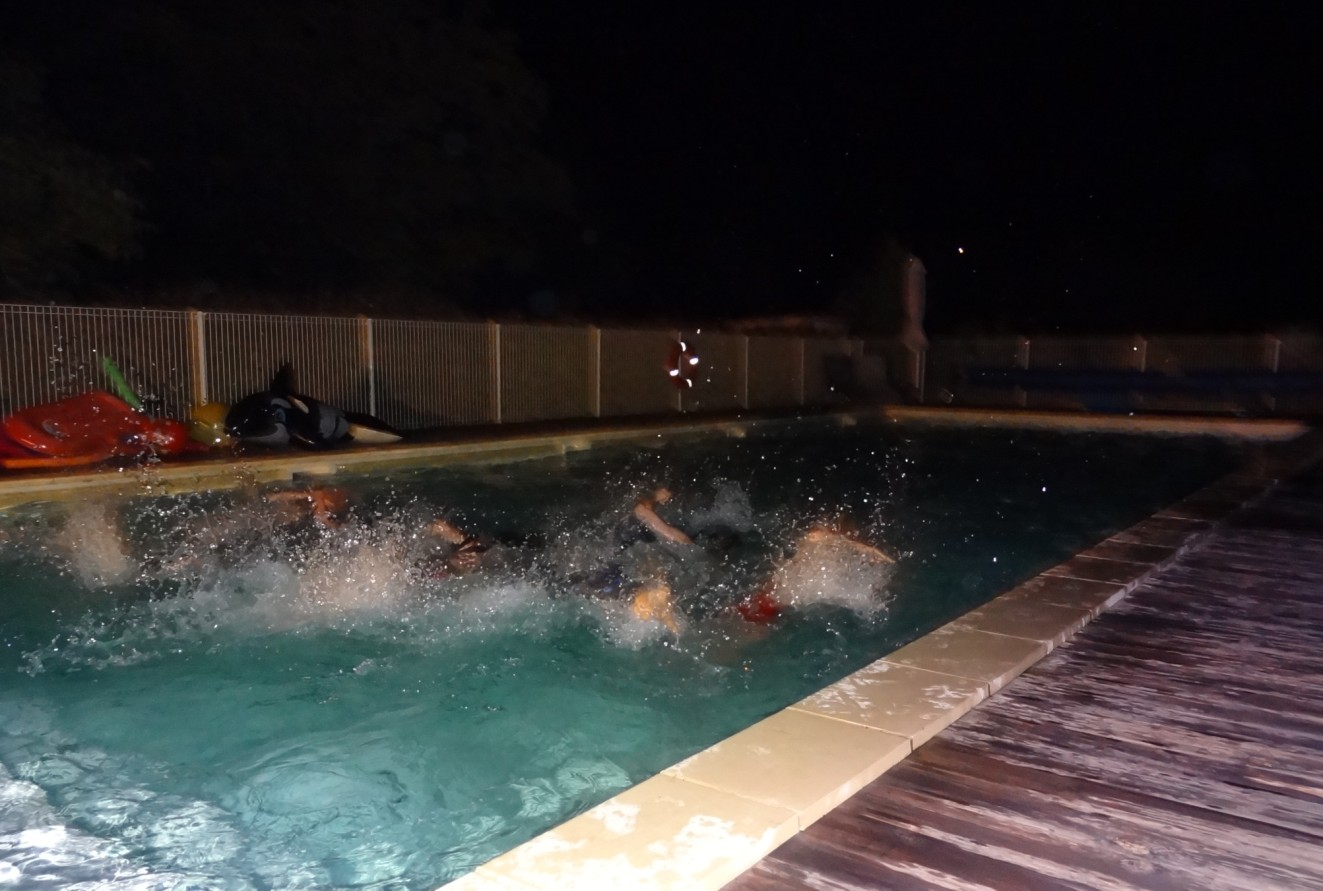 midnight swim at our french holiday cottages
