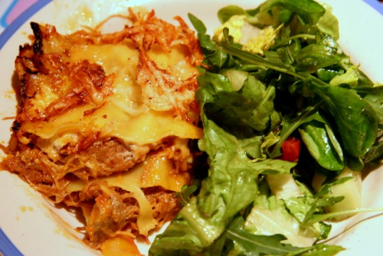 duck confit lasagne & green salad